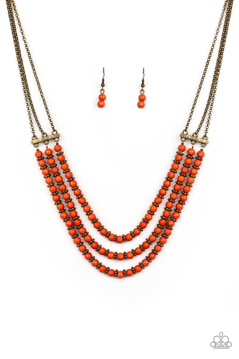 Paparazzi Accessories - Terra Trails - Orange Necklace