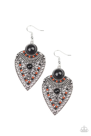 Paparazzi Accessories - Tribal Territory - Black Earrings