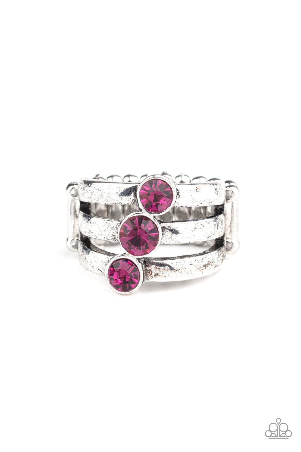 Paparazzi Accessories - Triple The Twinkle - Pink Ring