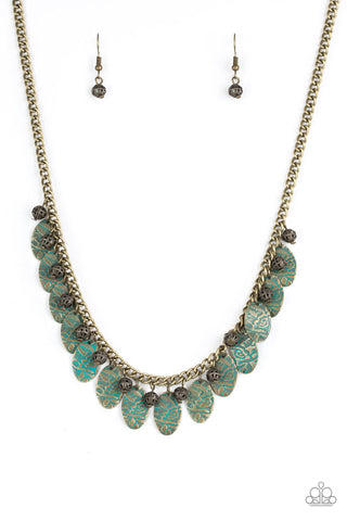 Paparazzi Accessories - Vintage Gardens - Brass Necklace
