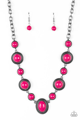 Paparazzi Accessories - Voyager Vibes - Pink Necklace