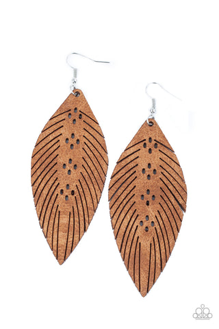 Paparazzi Accessories - Wherever The Wind Takes Me - Brown Earrings