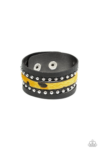 Paparazzi Accessories - Born To Be WILDCAT - Yellow Bracelet - JMJ Jewelry Collection