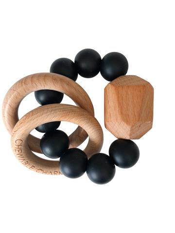 Chewable Charm - Hayes Silicone + Wood Teether Ring - Black - littlelightcollective