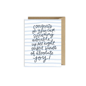 Funny New Baby Card - Congrats Bundle of Joy - littlelightcollective