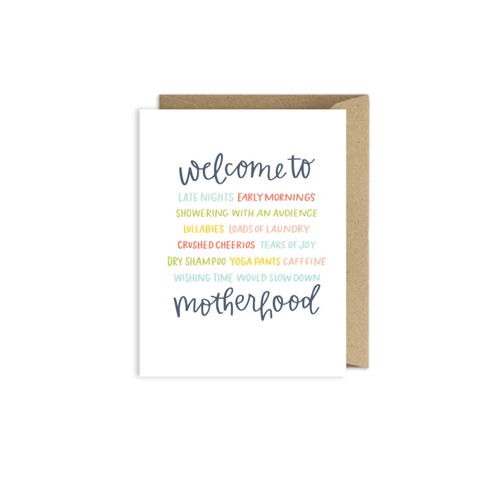 Welcome to Motherhood - New Baby Pregnancy Card - littlelightcollective