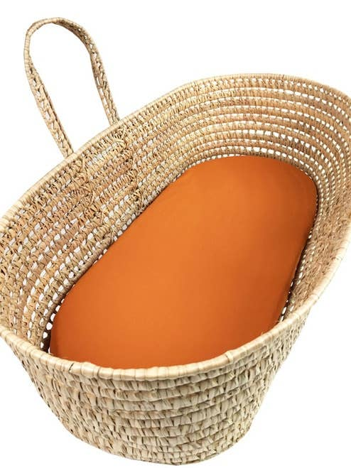Wendy Anne - Rustic Orange Moses Basket Sheet - littlelightcollective