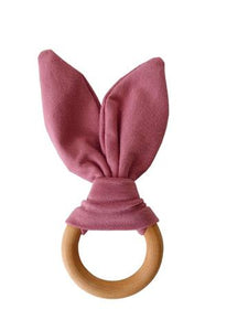 Chewable Charm - Crinkle Bunny Ears Teether - Mauve - littlelightcollective