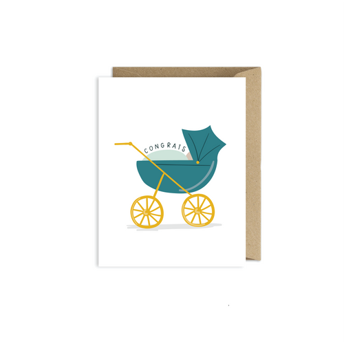 Congratulations Baby Carriage Card - littlelightcollective