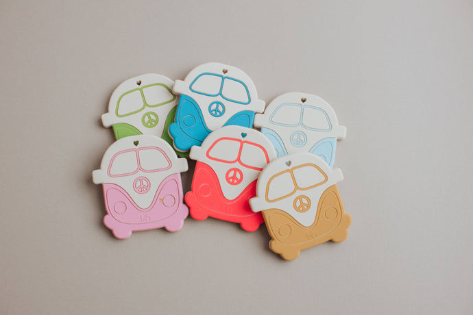 Three Hearts Modern Teething Accessories - Silicone Teether - Peace Vintage Bus - littlelightcollective