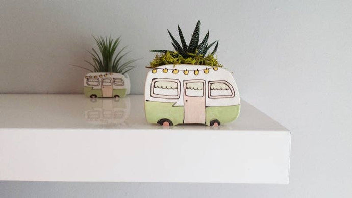 Julie Richard Ceramist - Small Vintage Green Boler Planter - littlelightcollective