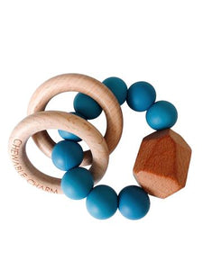 Chewable Charm - Hayes Silicone + Wood Teether Ring - Niagra Blue - littlelightcollective