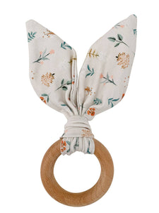Chewable Charm - Preorder Crinkle Bunny Ears Teether- Poppy - littlelightcollective
