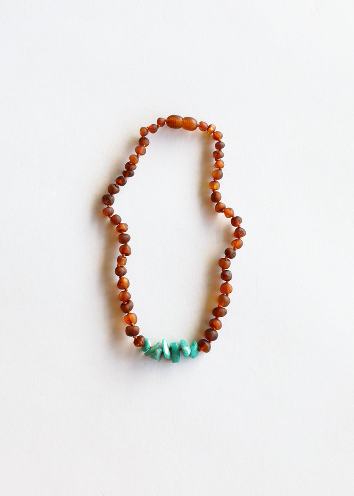 CanyonLeaf - Kids: Raw Cognac Amber + Raw Green Amazonite - littlelightcollective