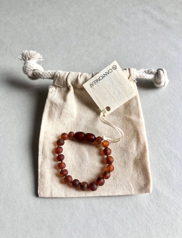 CanyonLeaf - Kids: Raw Cognac Amber Anklet or Bracelet - littlelightcollective