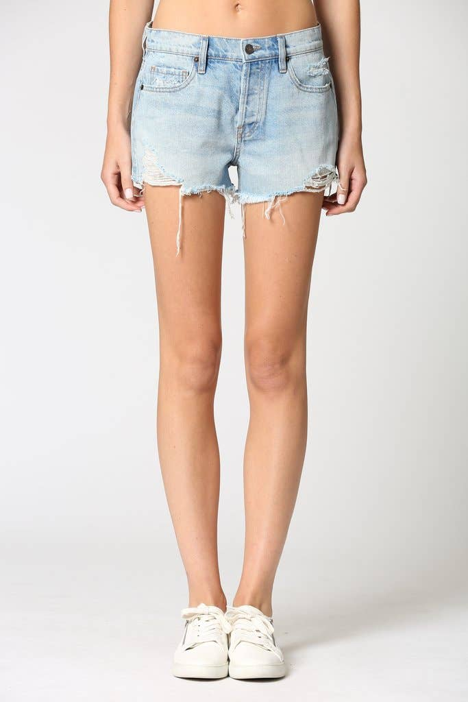 Hidden Jeans - The Kenzie Light Wash Classic Mid Rise Frayed Jeans Shorts - littlelightcollective