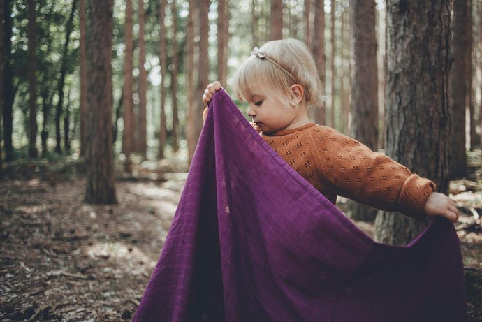 Organic Swaddle Blanket -Wild Mulberry - littlelightcollective