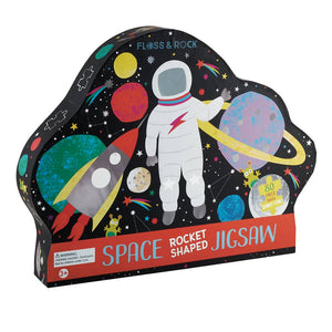 "Floss and Rock - Space 80pc ""Rocket"" Shaped Jigsaw with Shaped Box - littlelightcollective"