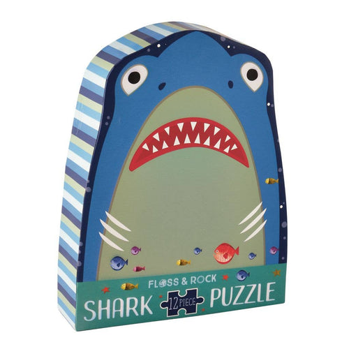 Floss and Rock - Shark 12pc Shaped Jigsaw with Shaped Box - littlelightcollective