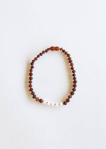 CanyonLeaf - Kids: Raw Amber + Moonstone Necklace - littlelightcollective