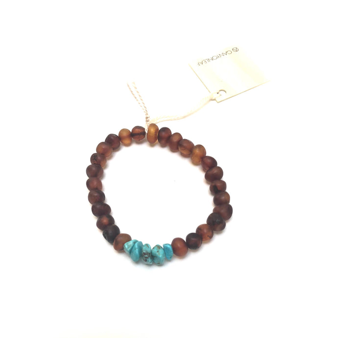 CanyonLeaf - Adult: Raw Cognac Amber + Raw Turquoise Howlite - littlelightcollective