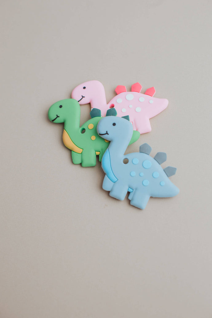 Three Hearts Modern Teething Accessories - Dino Silicone Teether - littlelightcollective