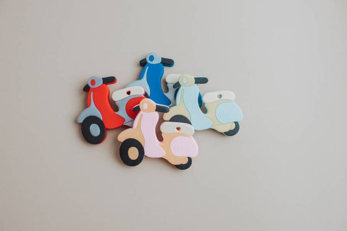 Three Hearts Modern Teething Accessories - Silicone Teether - Scooter - littlelightcollective