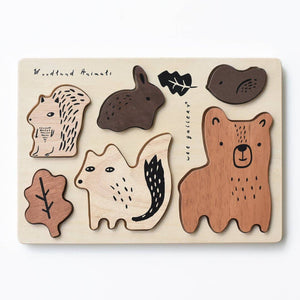 Wee Gallery - WOODEN TRAY PUZZLE - WOODLAND ANIMALS - littlelightcollective