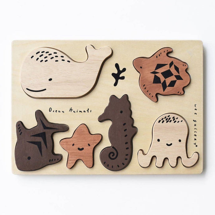 Wee Gallery - WOODEN TRAY PUZZLE - OCEAN ANIMALS - littlelightcollective
