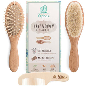 Fephas - Wooden Baby Hair Brush Set - littlelightcollective