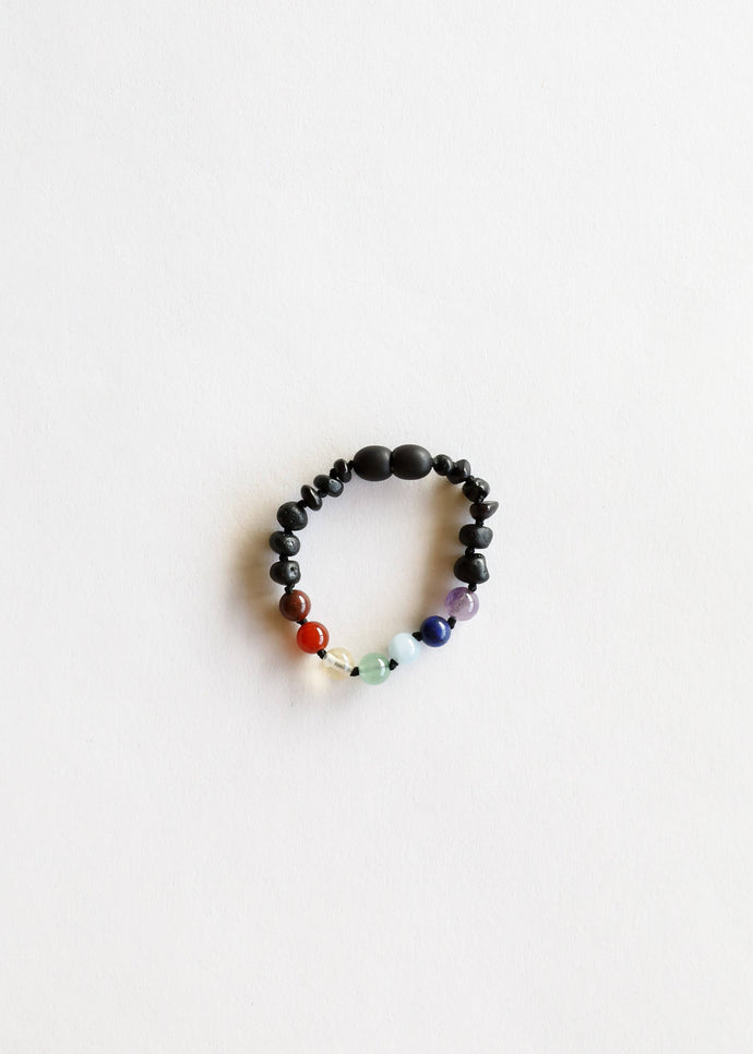 CanyonLeaf - Kids: Raw Black Amber + Chakra Crystals Bracelet - littlelightcollective