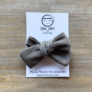 Miss Mimi by Miminoo - Corduroy Hair Bow Taupe - littlelightcollective