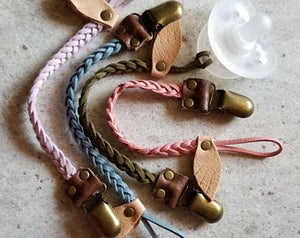 Braided Leather Pacifier / Toy Clip multicolors - littlelightcollective