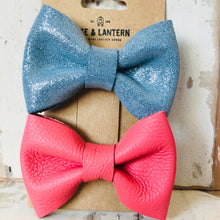 Load image into Gallery viewer, 2 Pack Classic Leather Hair Bow Clip Set - littlelightcollective