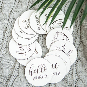 Wooden Monthly Photo Markers for Baby - Black and White - littlelightcollective