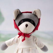 Load image into Gallery viewer, Gwendolyn Raccoon in Natural Tunic and Red Bonnet - littlelightcollective