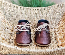 Load image into Gallery viewer, Lace Up Oxford Moccasin - Metallic Burgandy - littlelightcollective