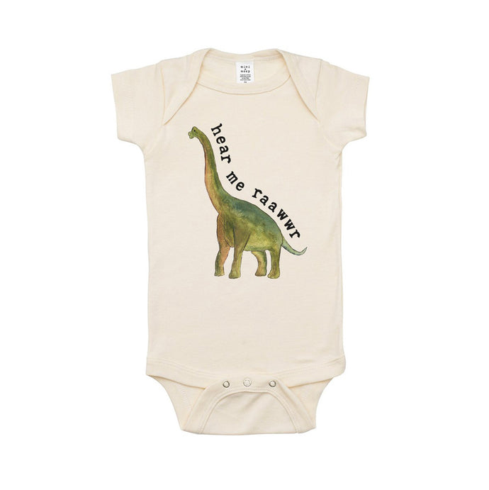 Hear me Raawwr Dino Organic One Piece Bodysuit - littlelightcollective