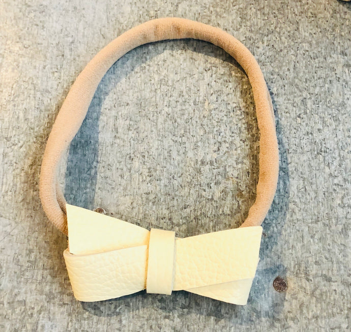 Yellow Leather Bow Infant Headband - littlelightcollective