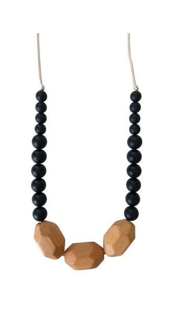 The Austin - Black Teething Necklace - littlelightcollective