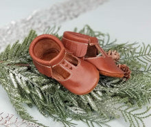 Load image into Gallery viewer, T-strap in Brick color with brown suede sole Moccasins - littlelightcollective