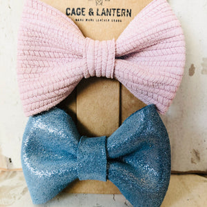 2 Pack Classic Leather Hair Bow Clip Set - littlelightcollective