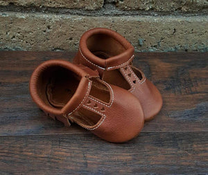 T-strap in Brick color with brown suede sole Moccasins - littlelightcollective