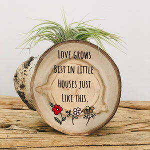 Love Grows - Small Wood Round (Air Plant Magnet) - littlelightcollective