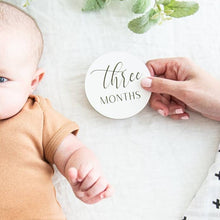 Load image into Gallery viewer, Wooden Monthly Photo Markers for Baby - Black and White - littlelightcollective