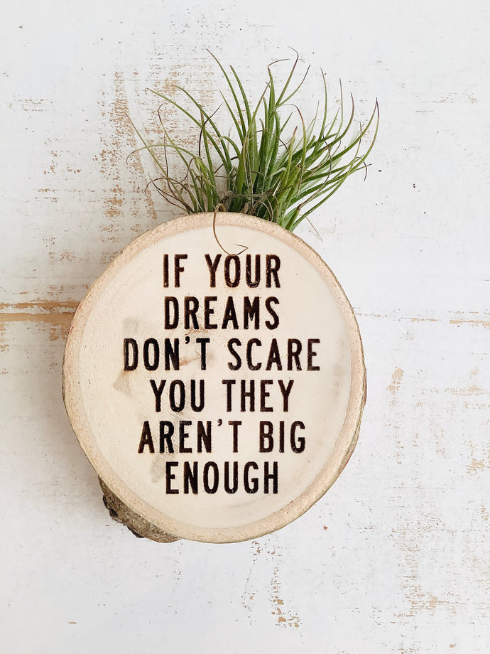 If Your Dreams Don't Scare You-Medium Wood Round (Air Plant Magnet ) - littlelightcollective
