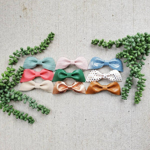 2 Pack Leather bowknot Duo set, hair clip, alligator clip, hair accessory - littlelightcollective