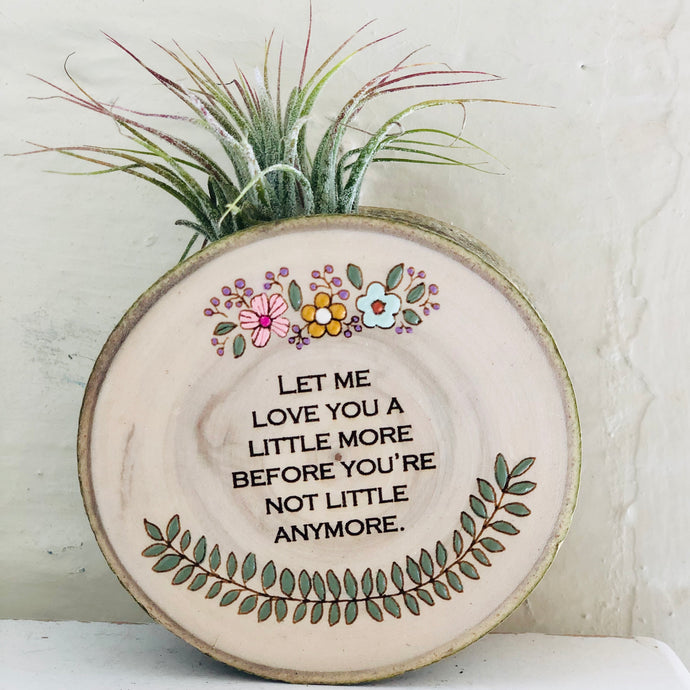 Let Me Love You Medium Wood Round (Air Plant Magnet) - littlelightcollective