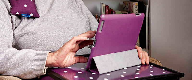 Lap tray in purple spotty by Bue Badge Co
