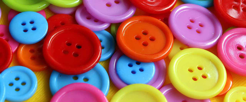 Brightly coloured buttons